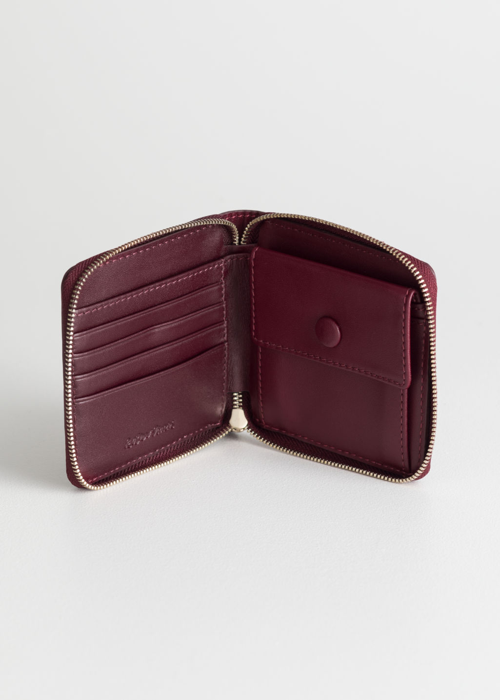 Back image of Stories leather zip wallet in red