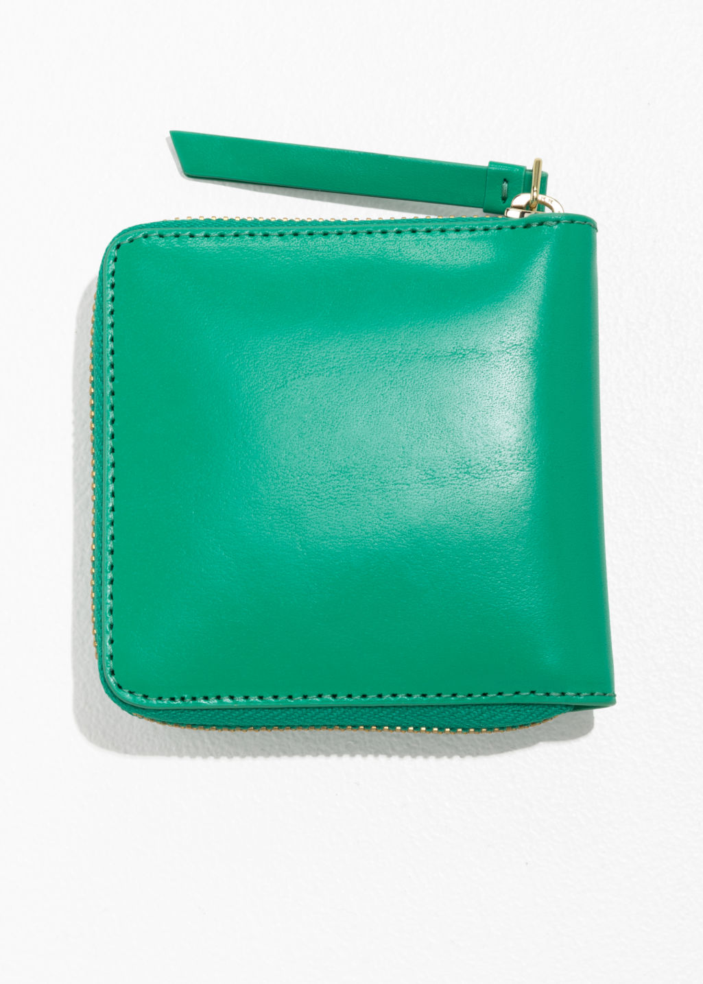 Back image of Stories leather zip wallet in green