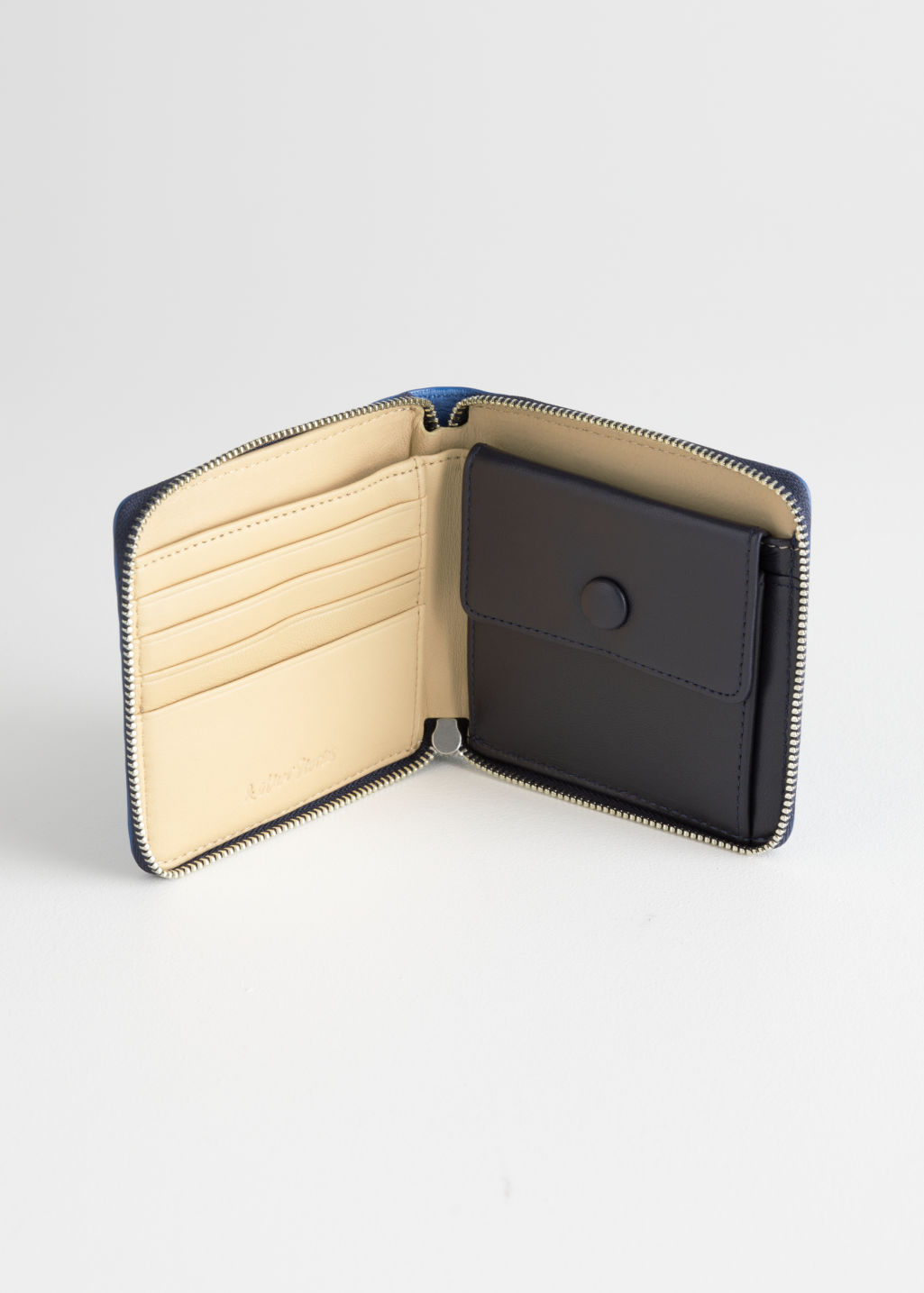 Back image of Stories leather zip wallet in blue