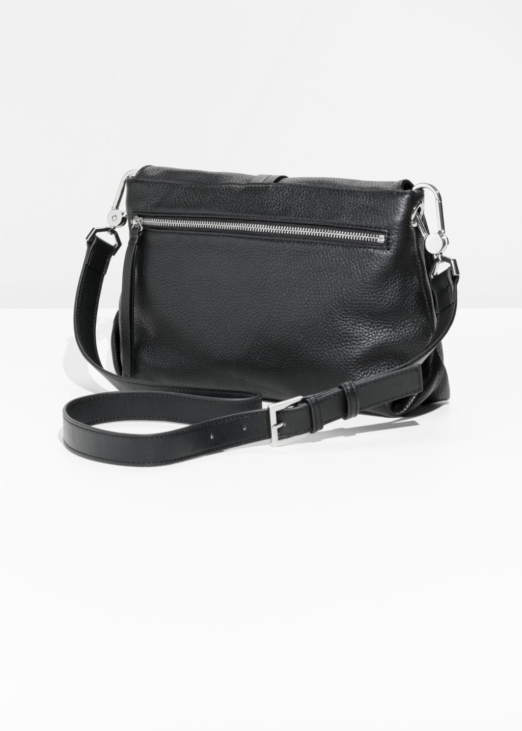 Back image of Stories soft leather buckle crossover in black