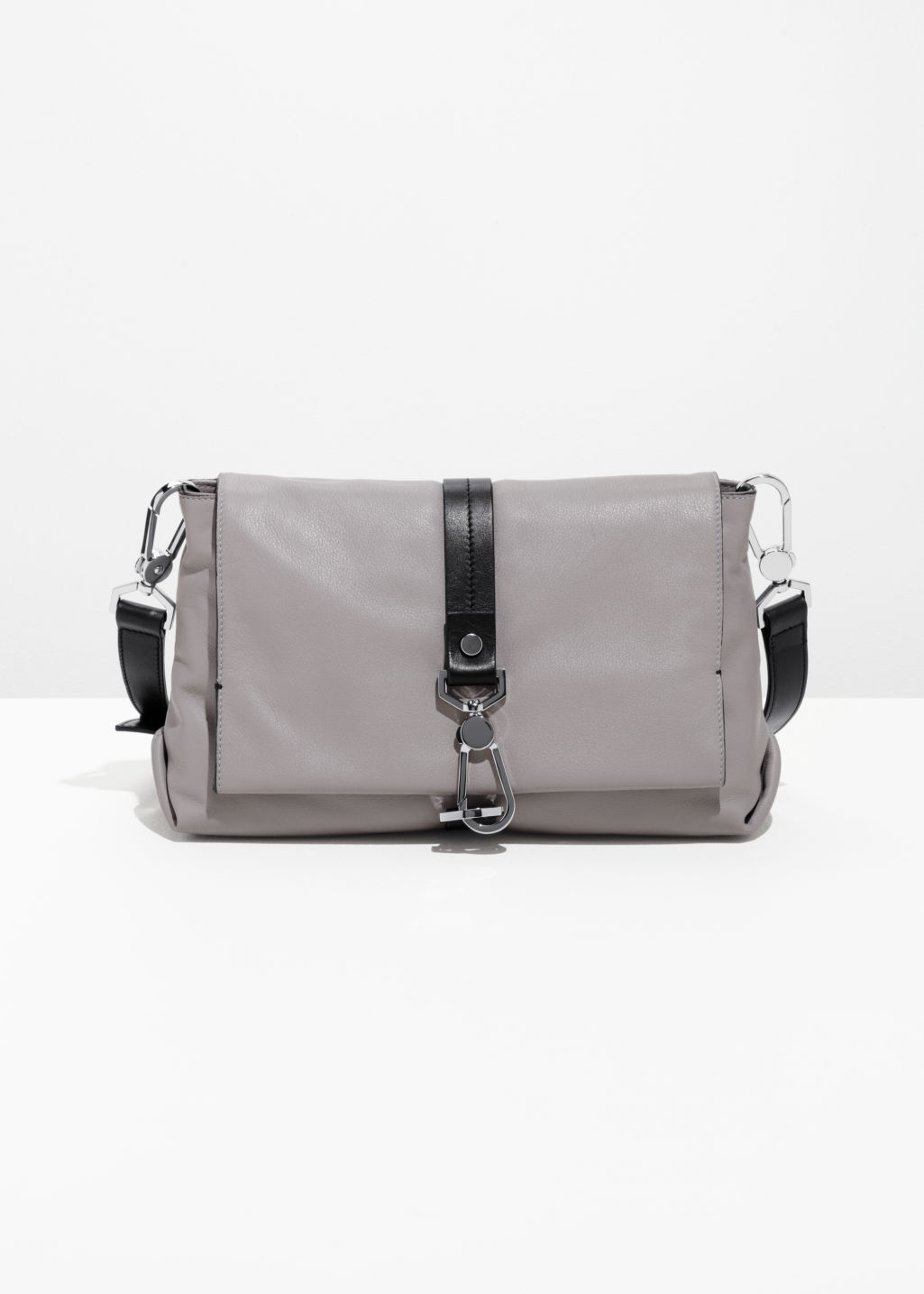 Front image of Stories soft leather buckle crossover in grey