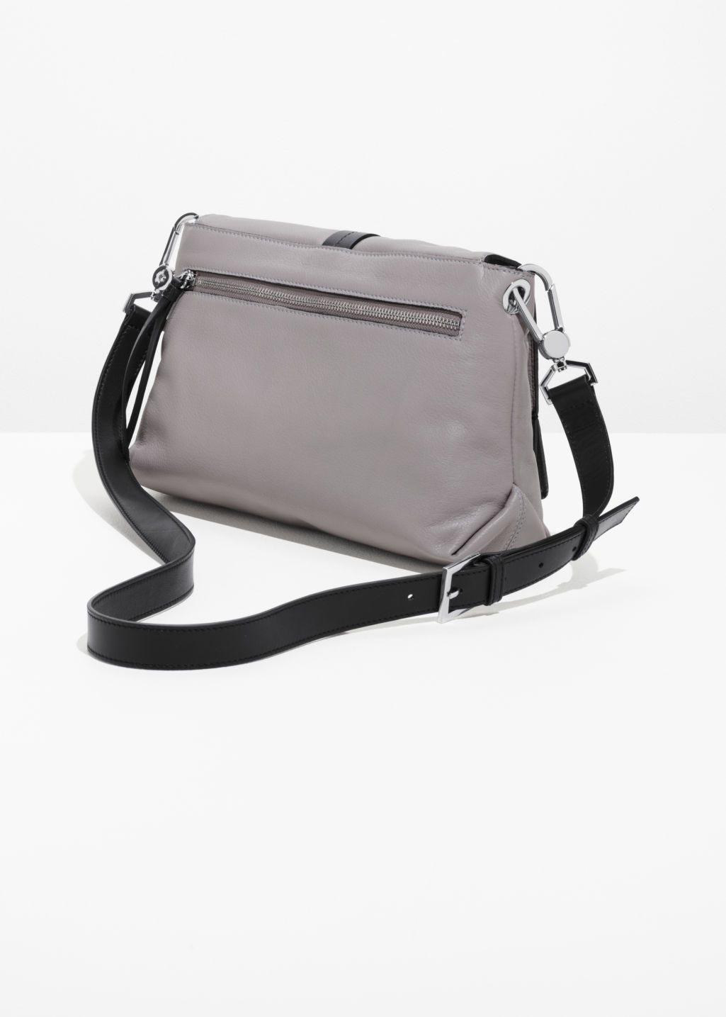 Back image of Stories soft leather buckle crossover in grey