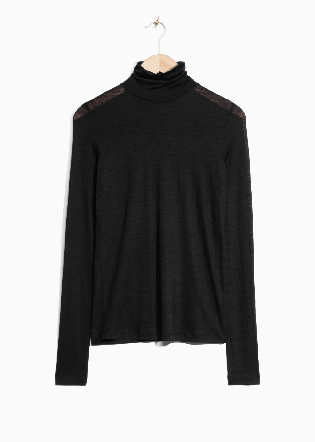 Front image of Stories basic wool turtleneck  in black