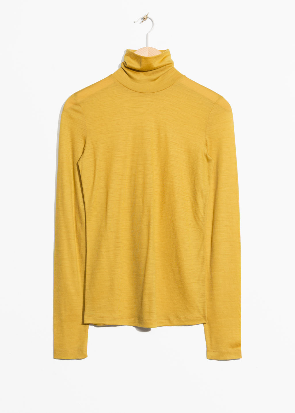 Front image of Stories basic wool turtleneck  in yellow
