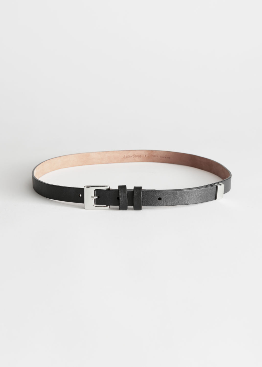 Front image of Stories double loop leather belt in black