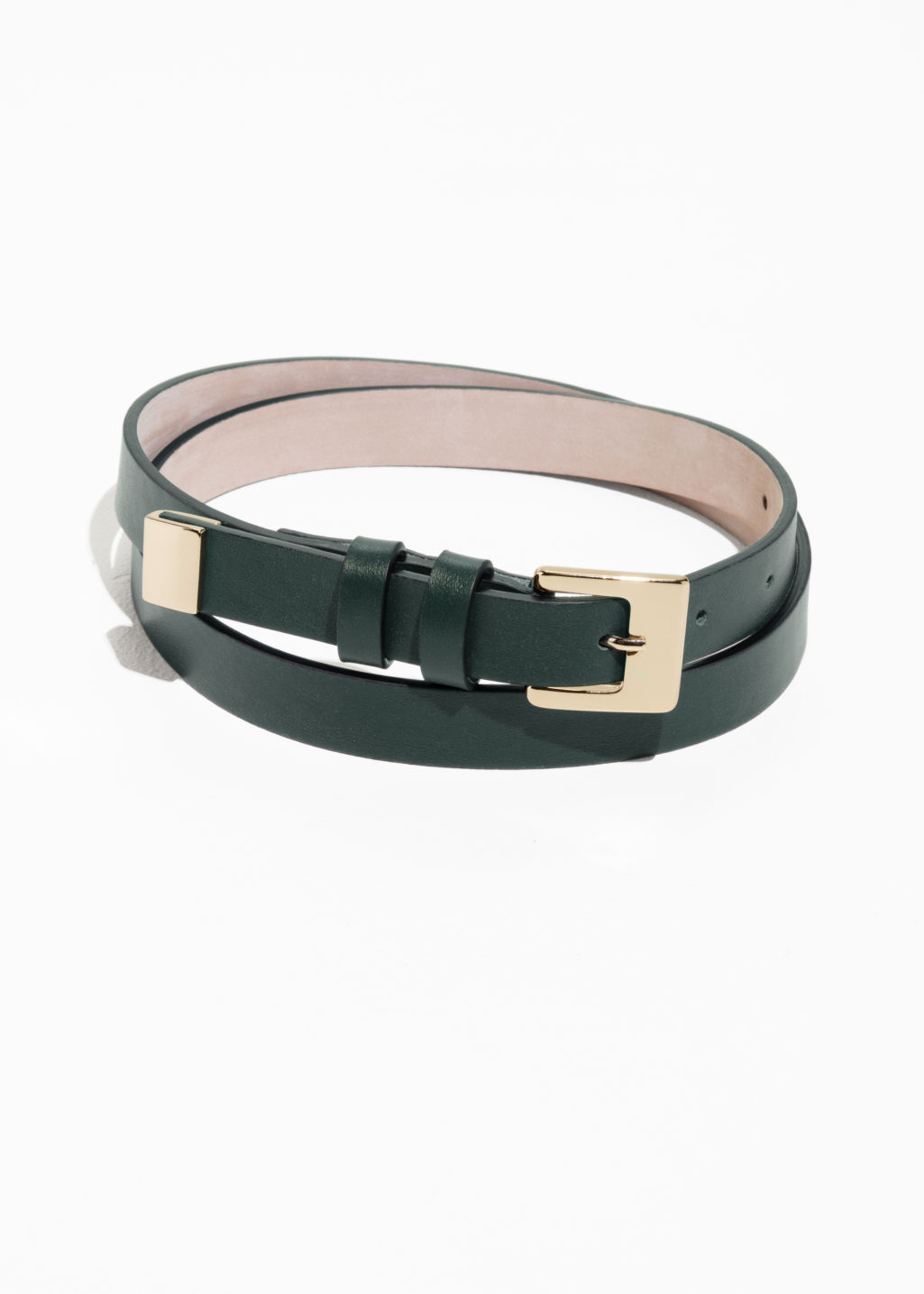 Front image of Stories double loop leather belt in green