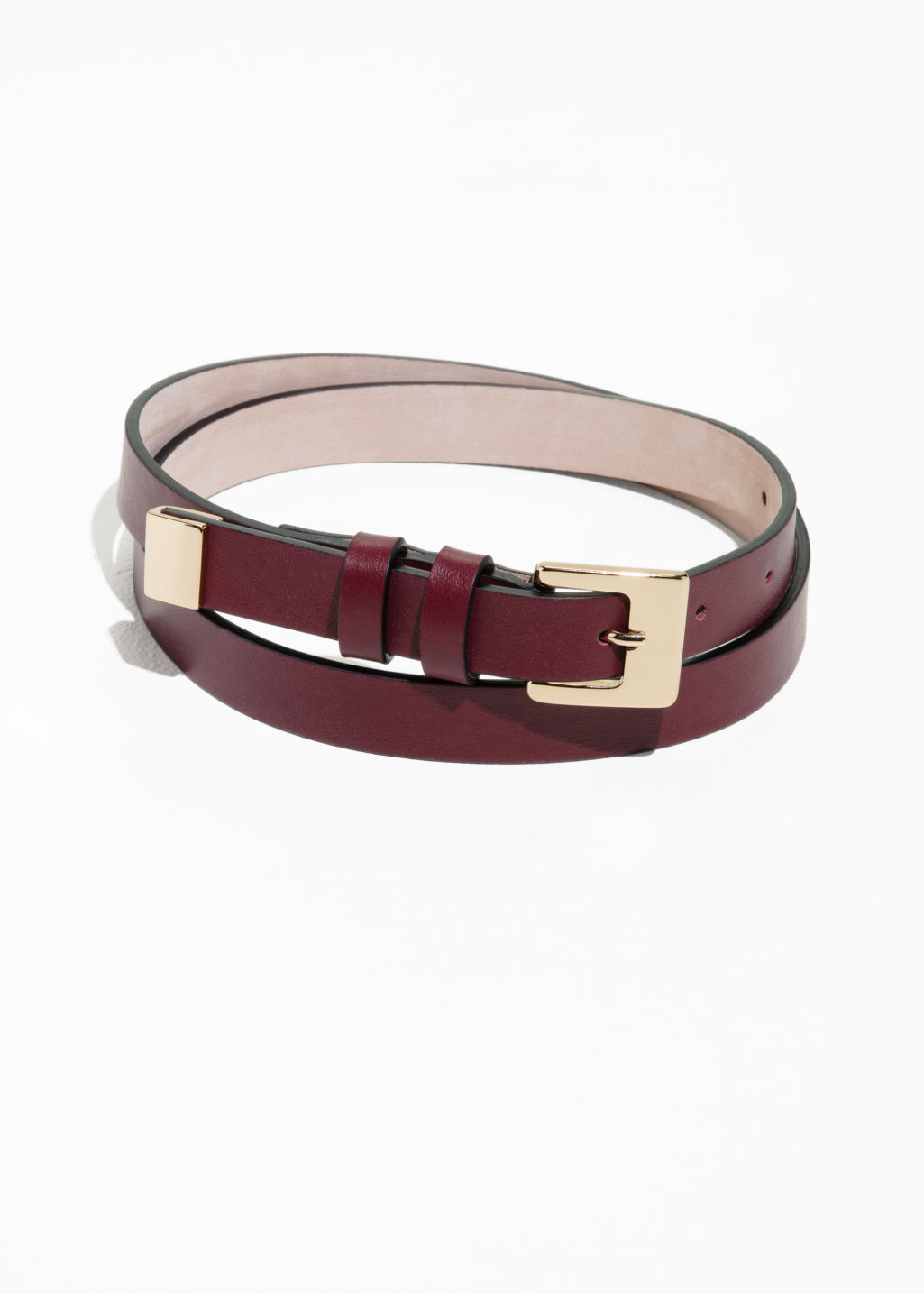 Front image of Stories double loop leather belt in red