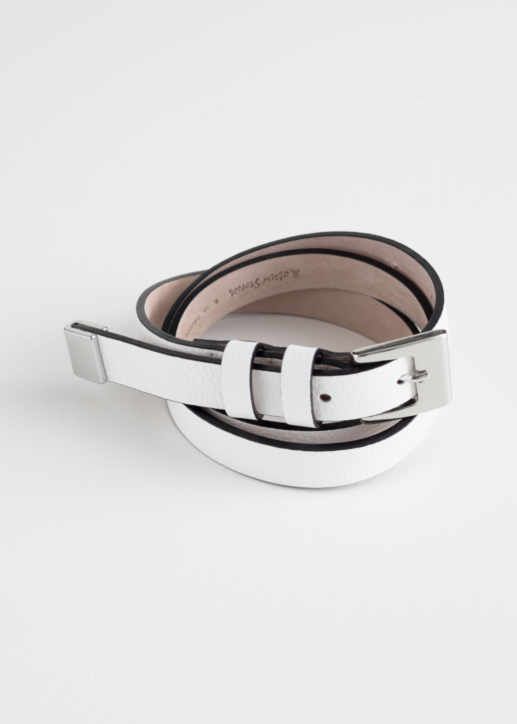 Front image of Stories double loop leather belt in white