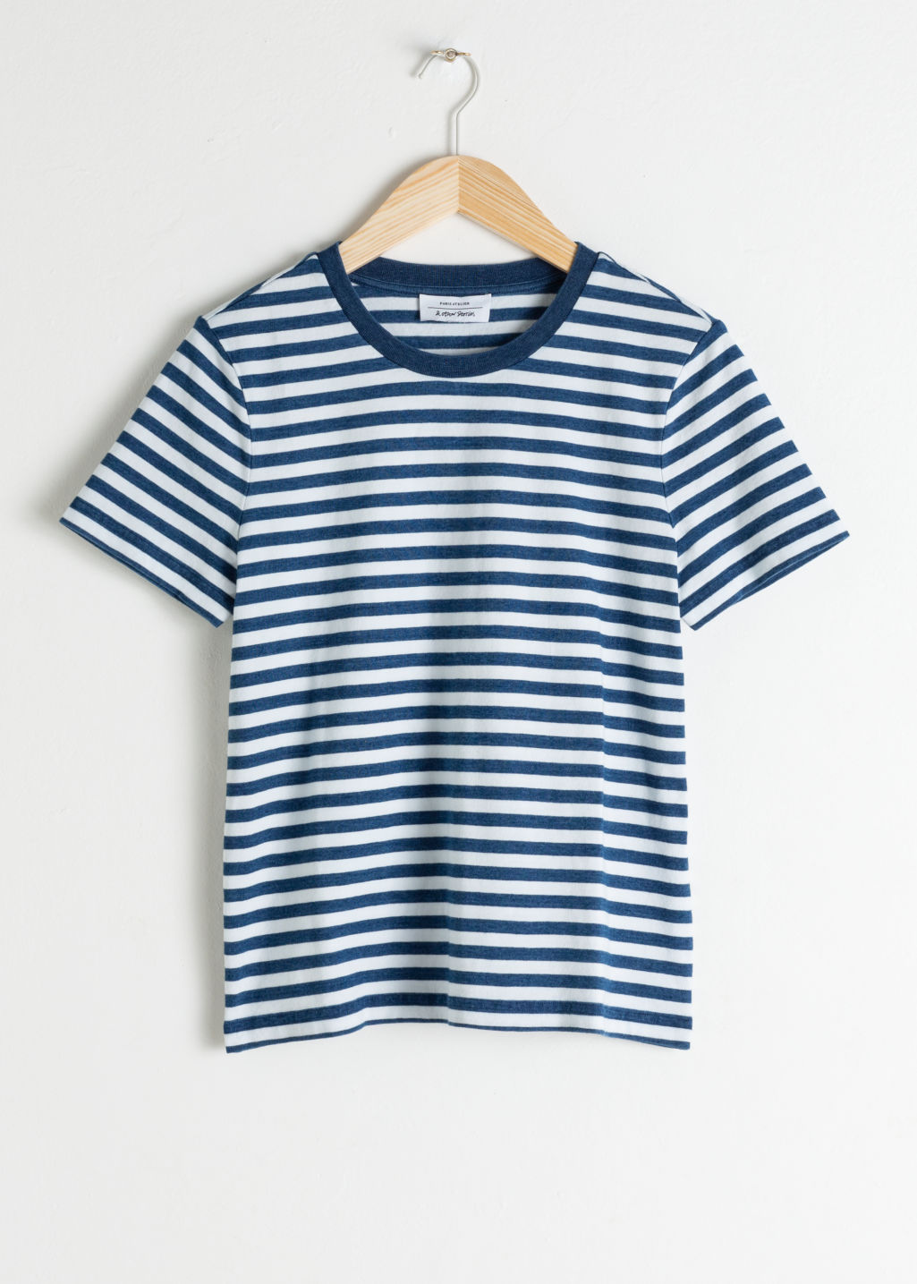 Front image of Stories striped tee in blue
