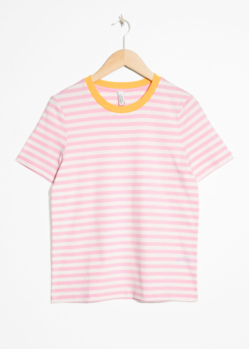 Front image of Stories striped tee in pink