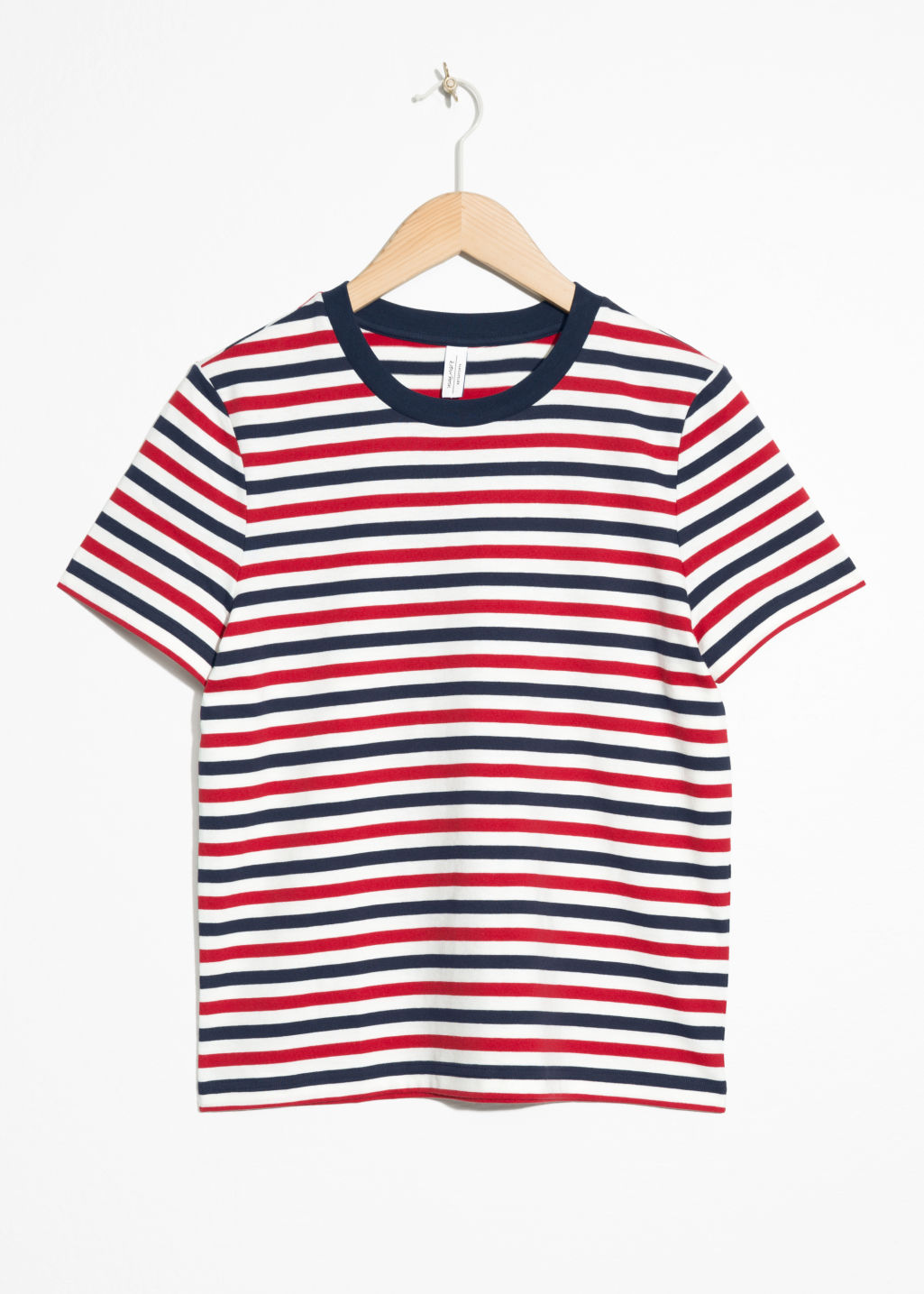 Front image of Stories striped tee in red