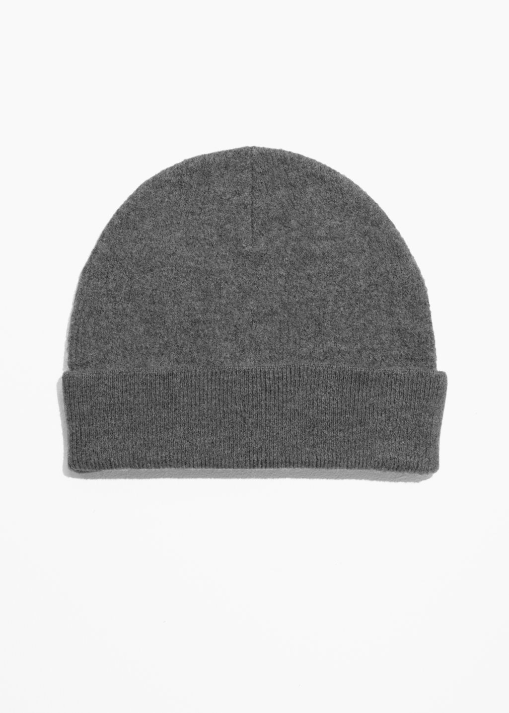 Front image of Stories wool beanie in grey