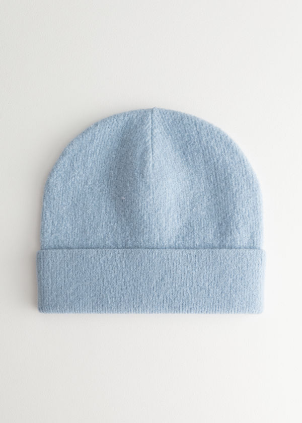Front image of Stories wool beanie in blue