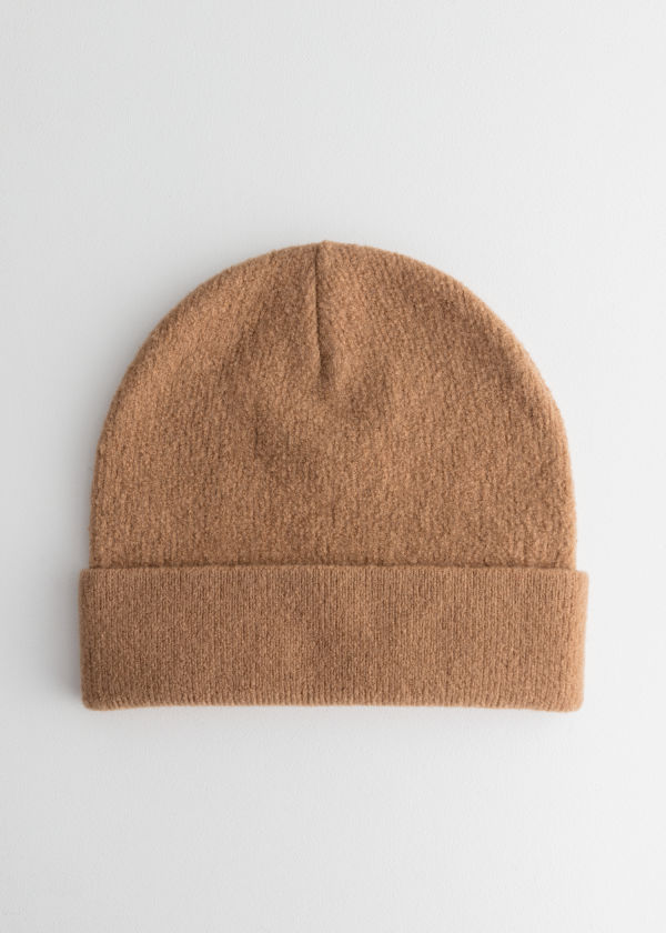 Front image of Stories wool beanie in beige