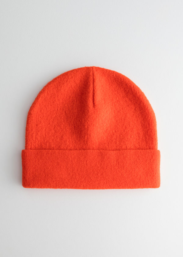 Front image of Stories wool beanie in orange