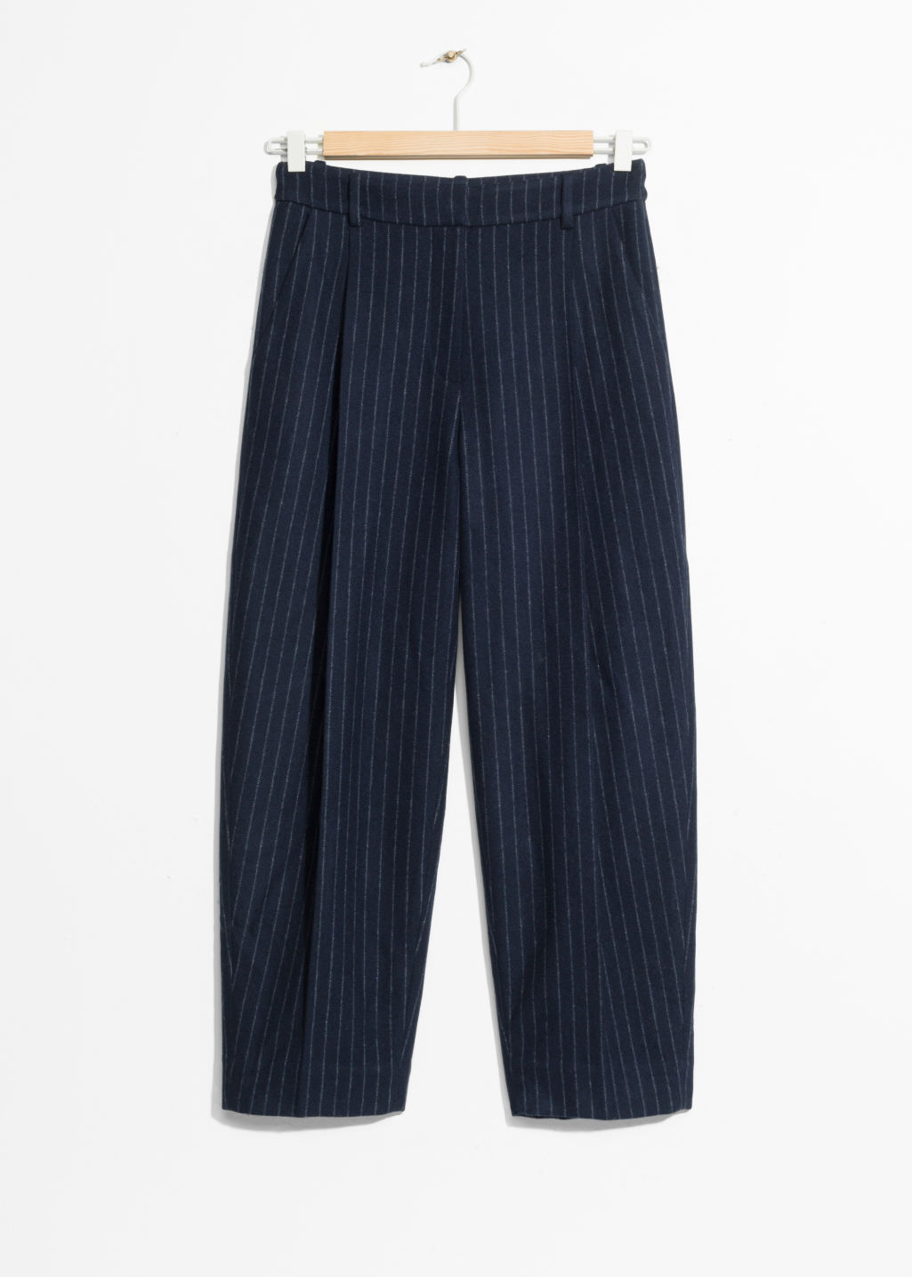Front image of Stories pinstripe trousers in blue
