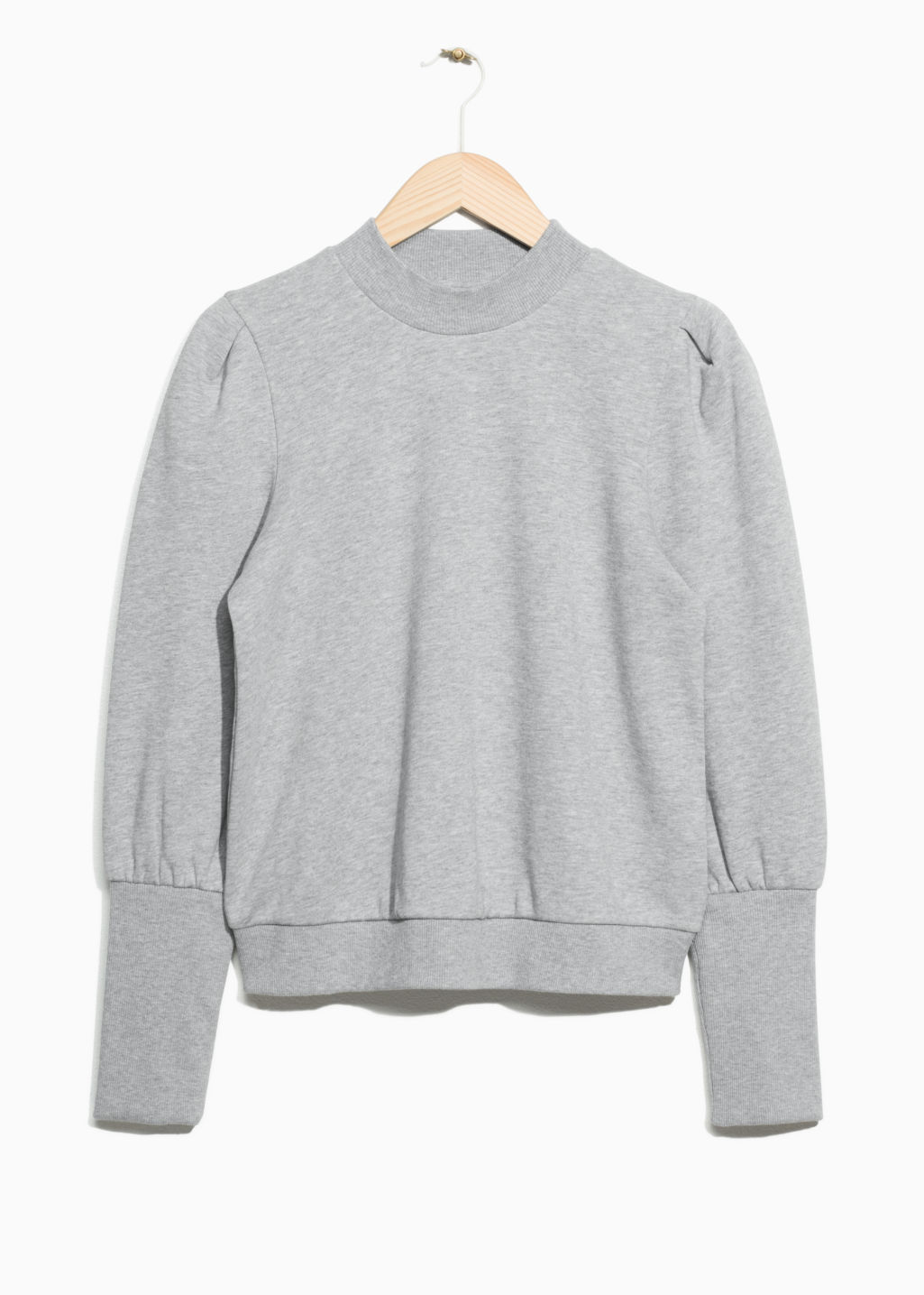 Front image of Stories power puff sweatshirt  in grey