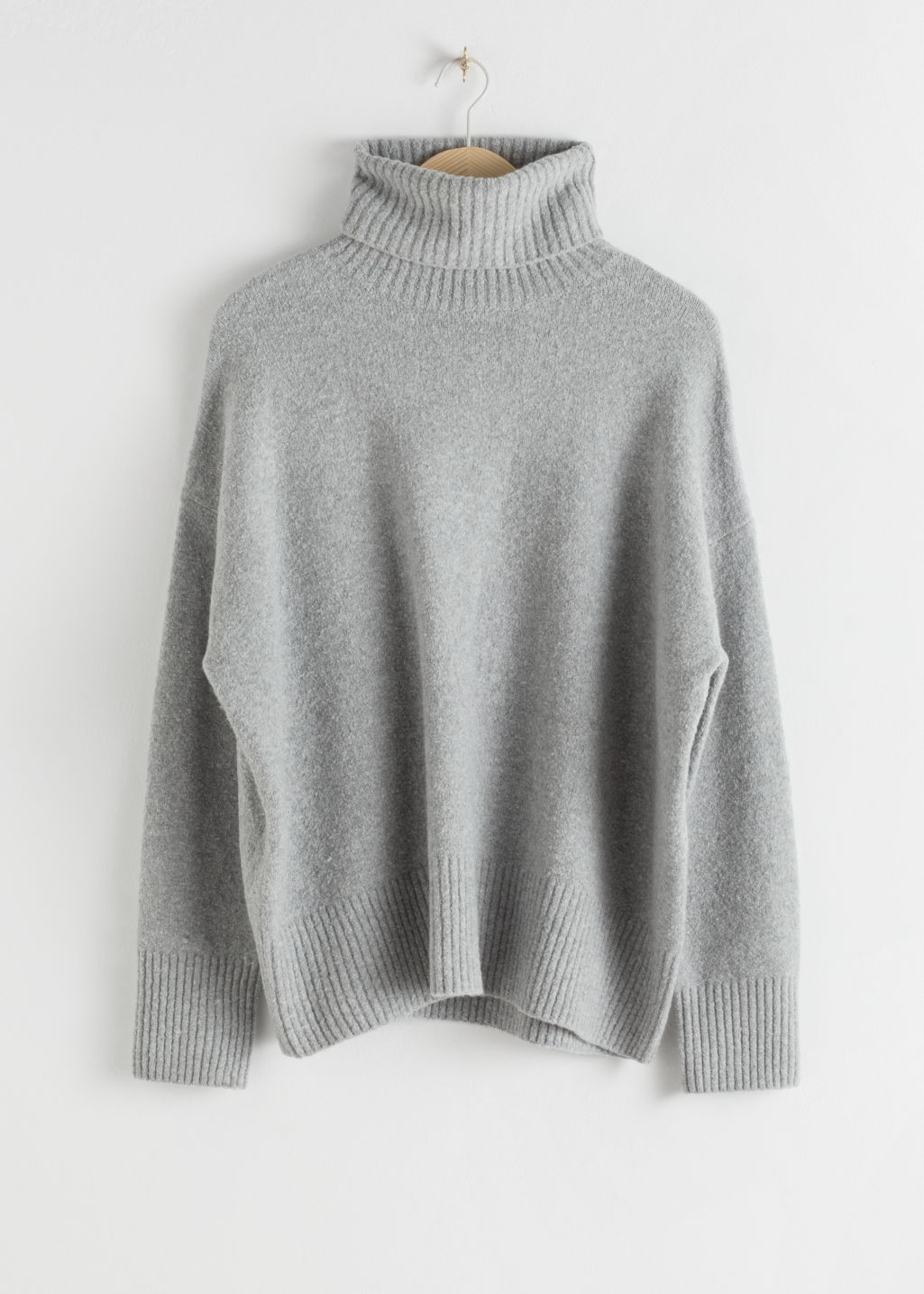 Front image of Stories high neck sweater in grey