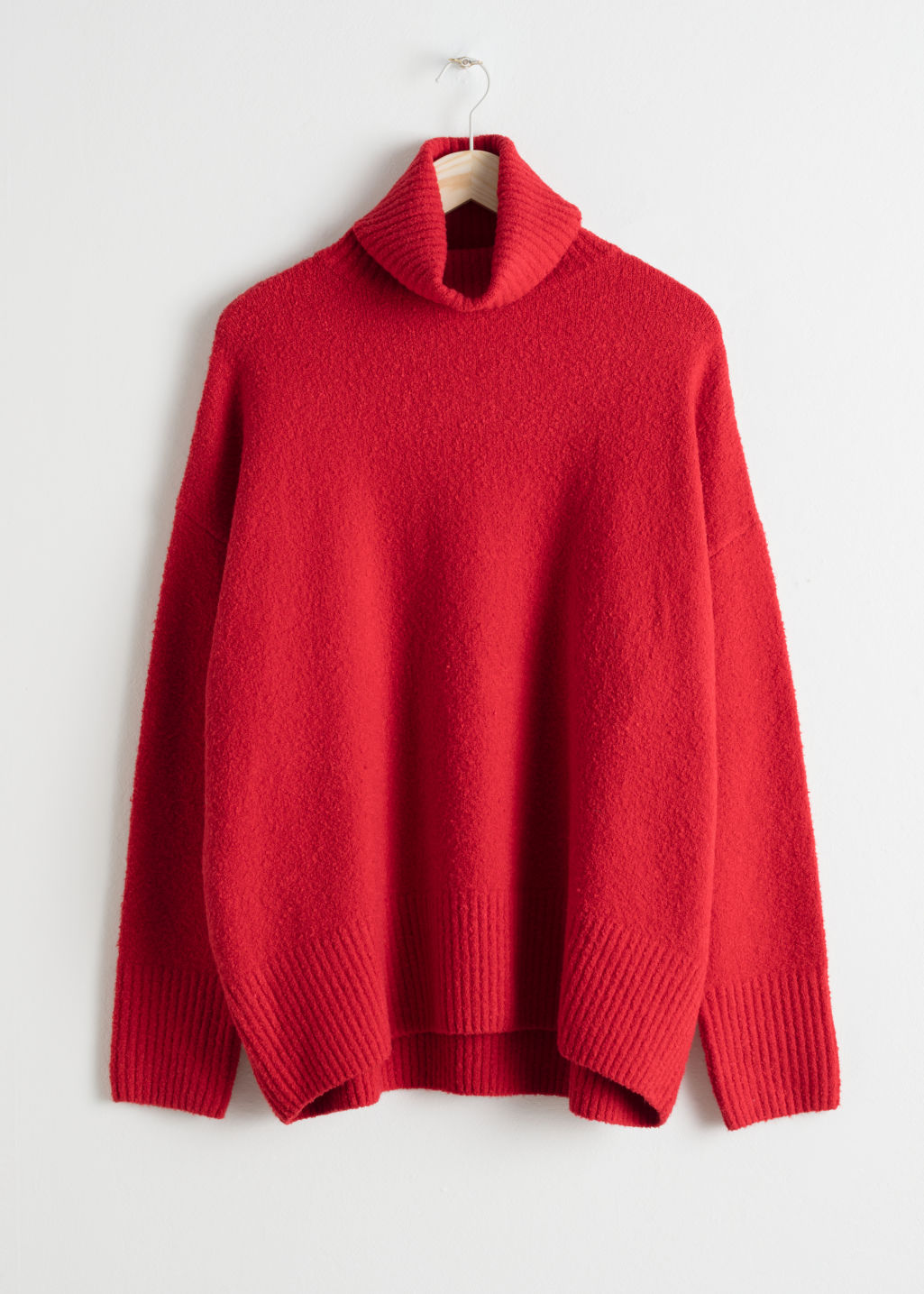 Front image of Stories high neck sweater in red