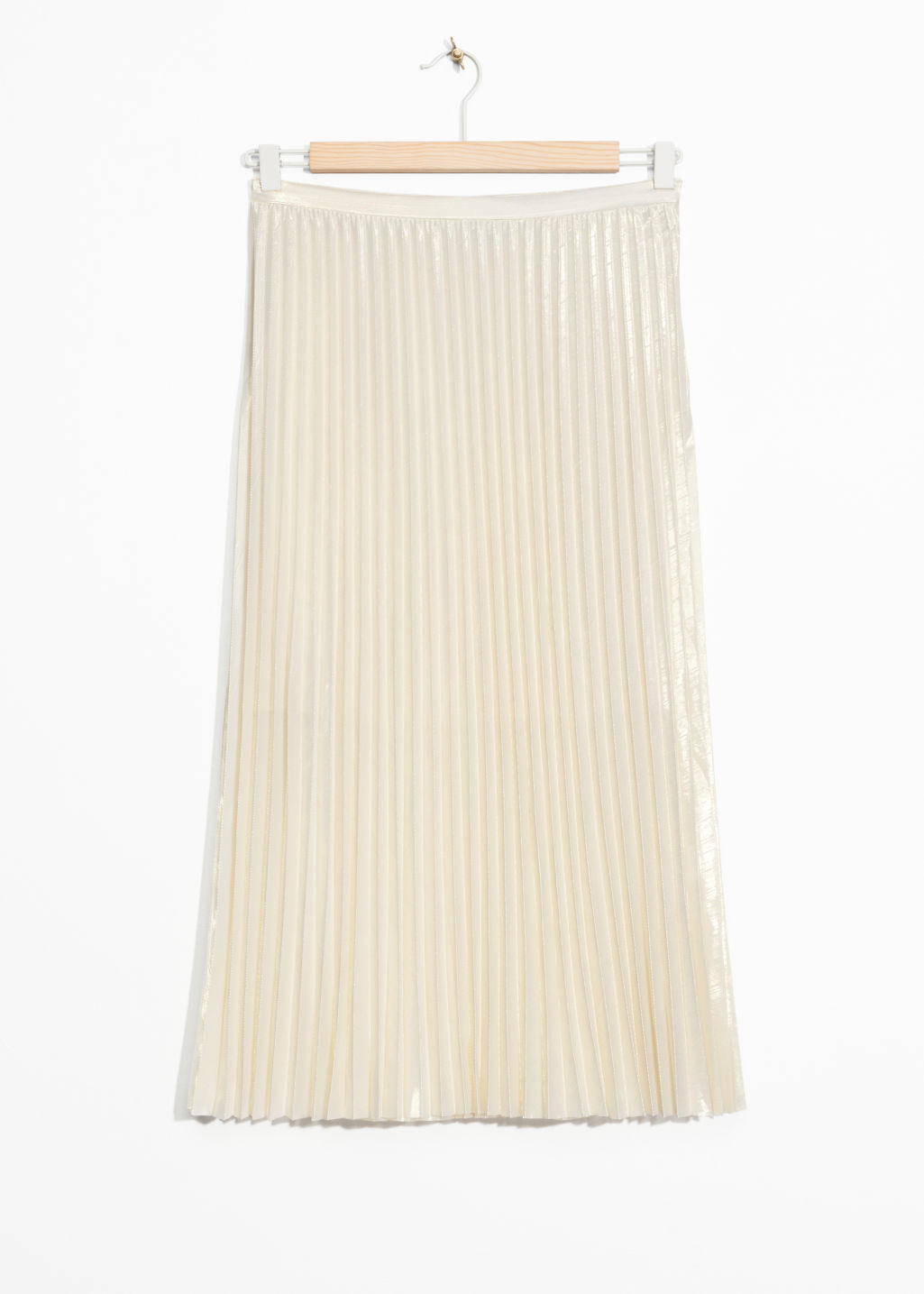 Front image of Stories pleated skirt in gold