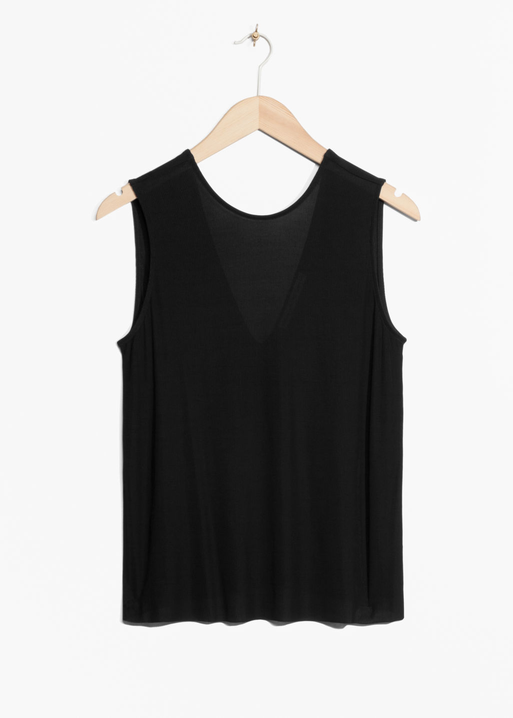 Front image of Stories sheer jersey rib top  in black