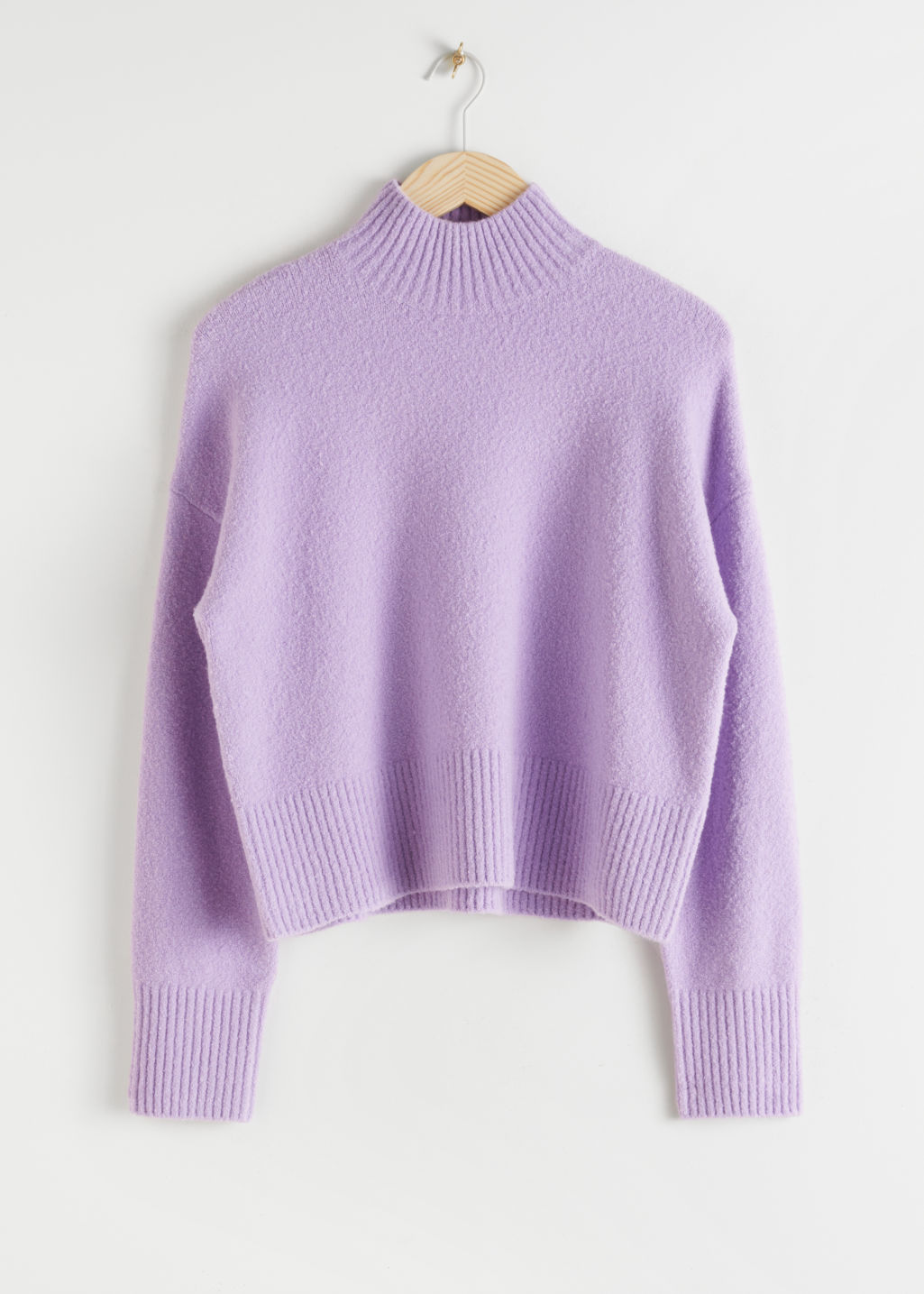 StillLife Front Image of Stories Cropped Mock Neck Sweater in Purple