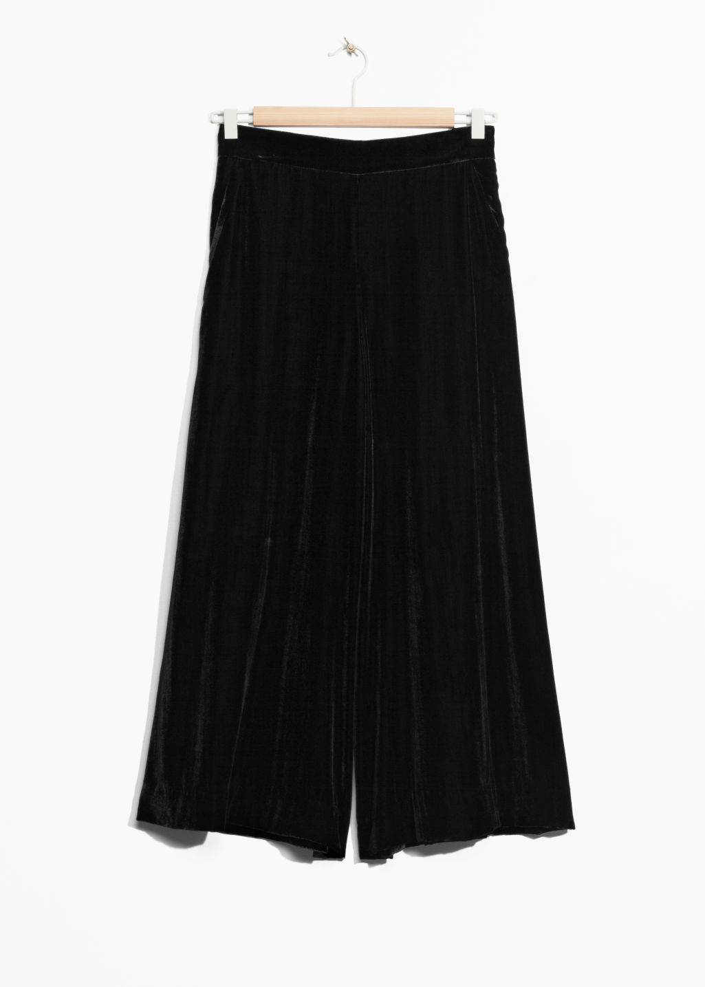 Front image of Stories velvet culottes in black