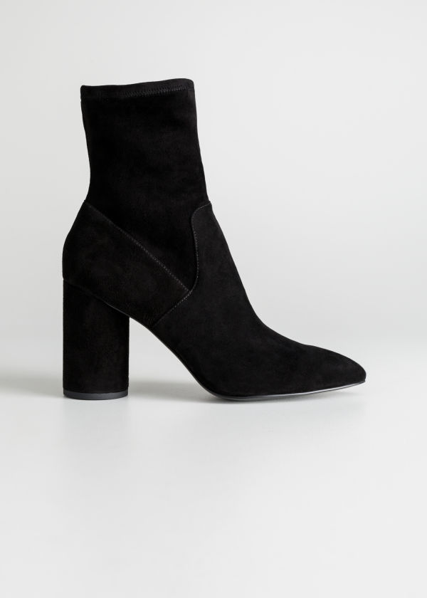 Front image of Stories suede sock boots in black