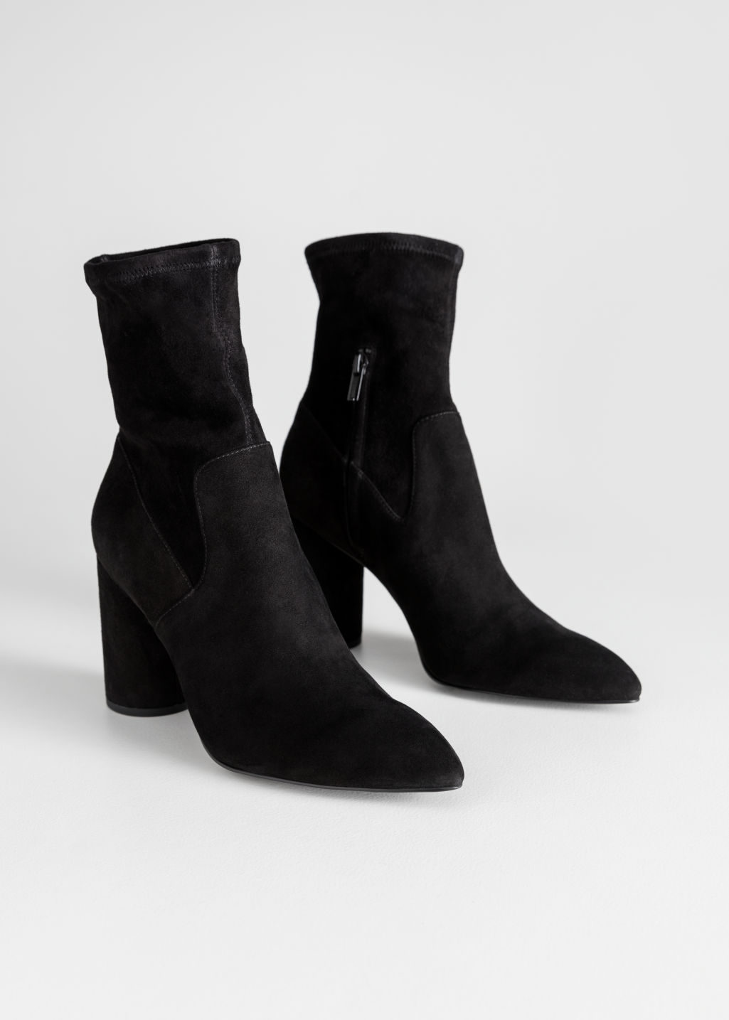 Back image of Stories suede sock boots in black