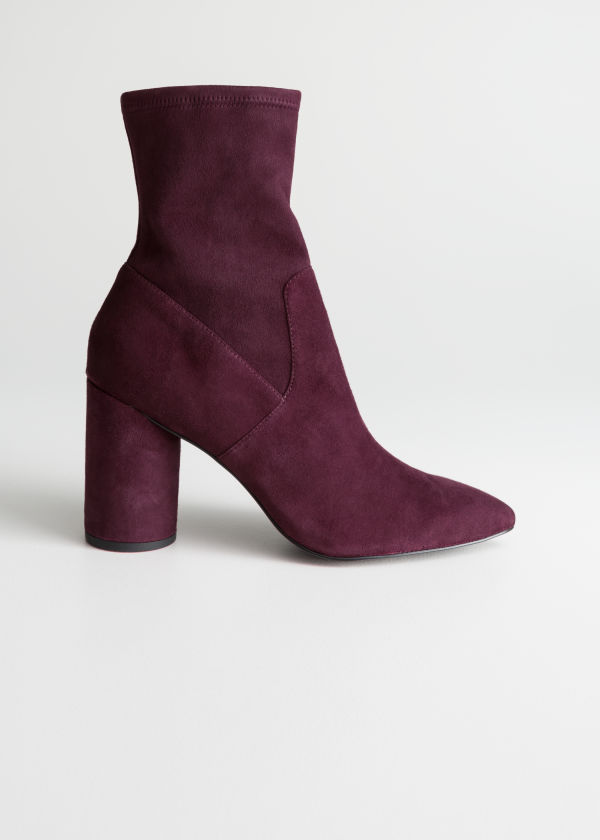Front image of Stories suede sock boots in red