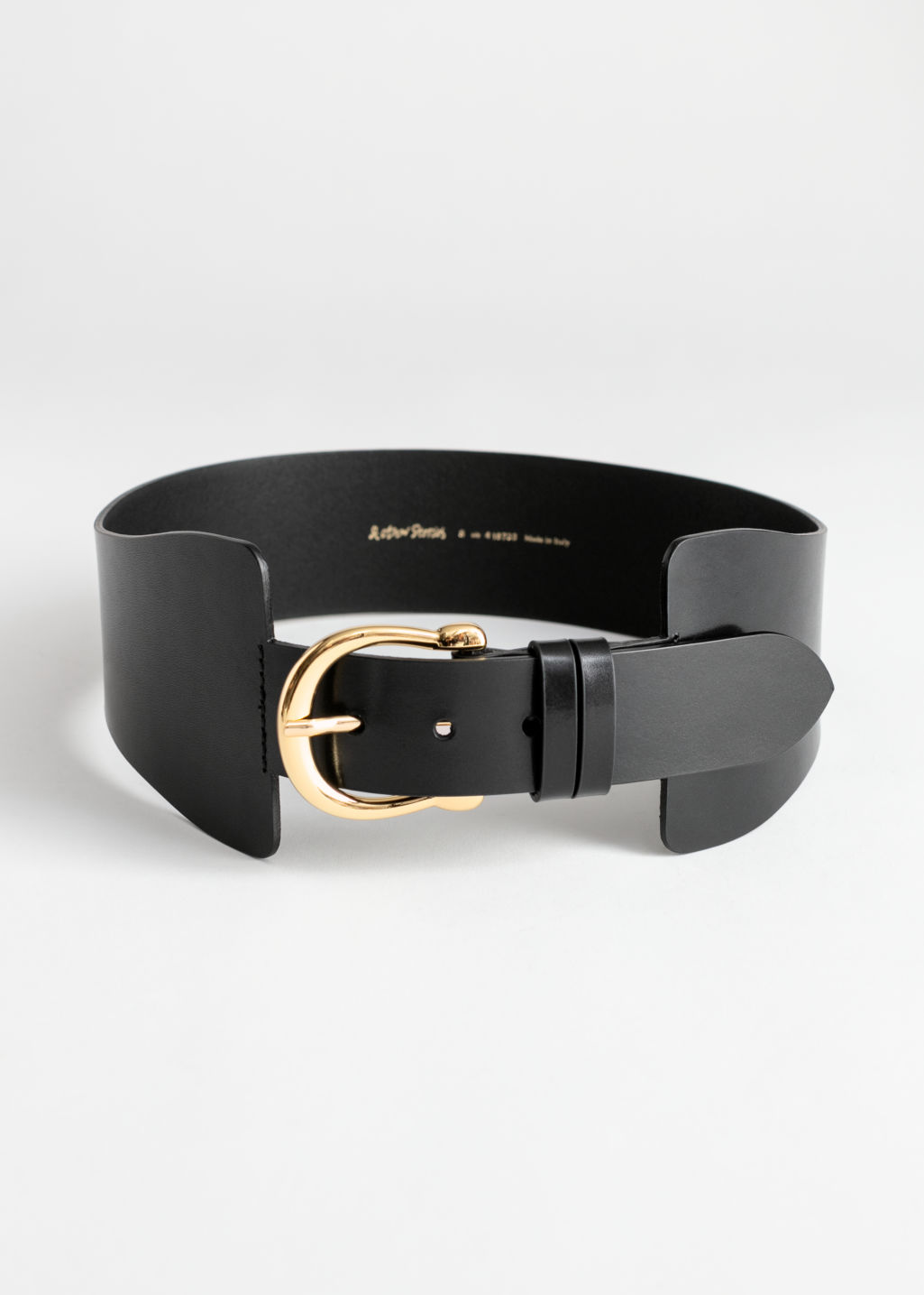 Front image of Stories waist buckle belt in black