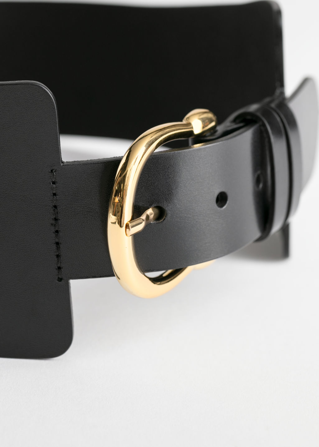 Back image of Stories wide waist belt in black