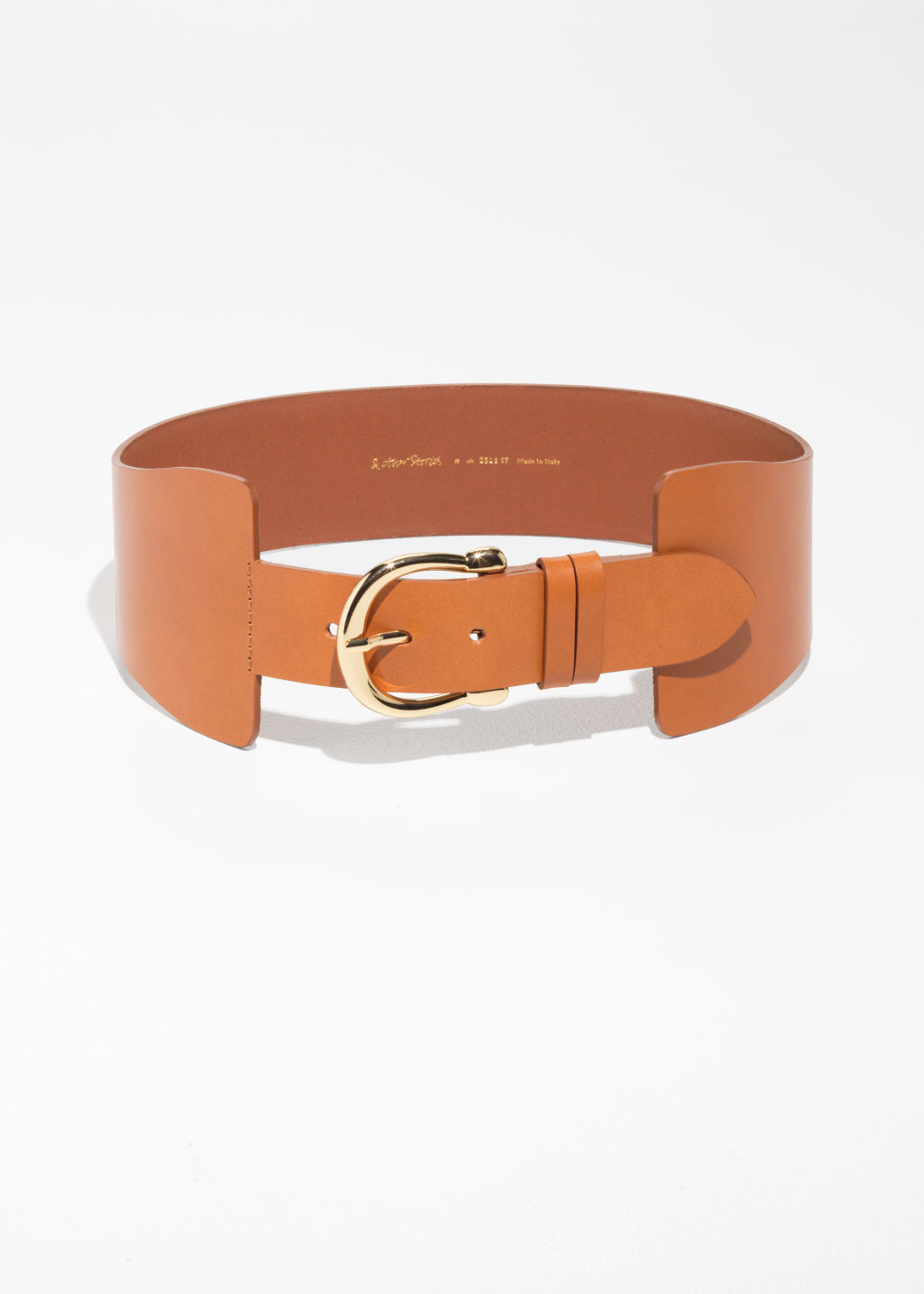 Front image of Stories waist buckle belt in beige