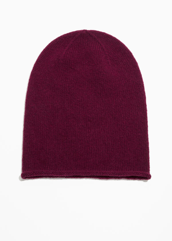 Front image of Stories wool mix beanie in red