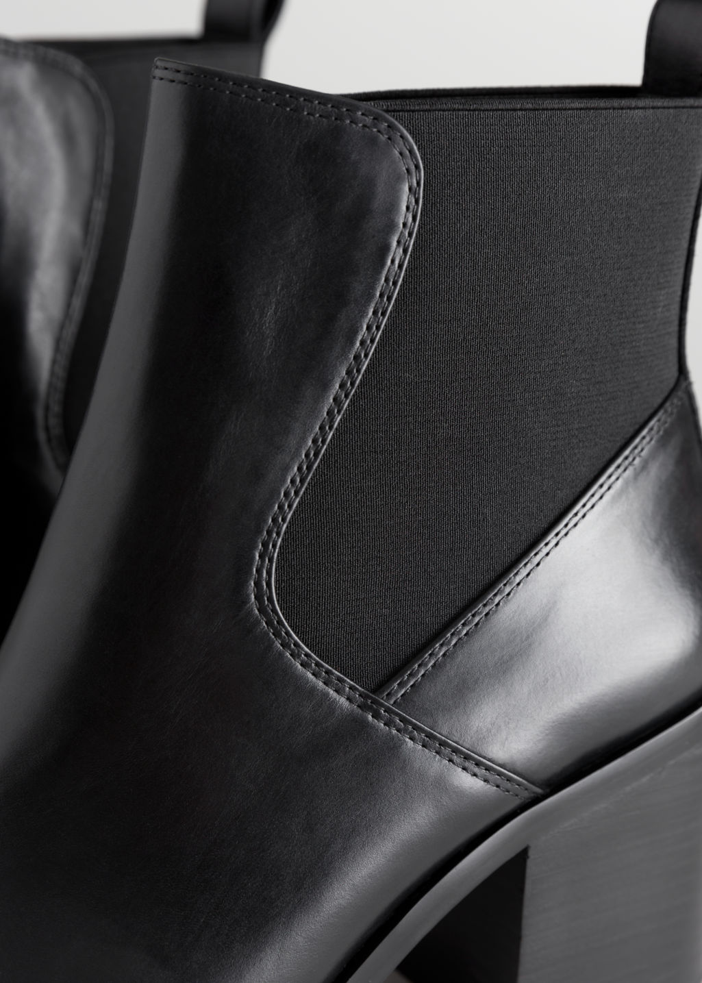 Back image of Stories chunky chelsea leather boots in black