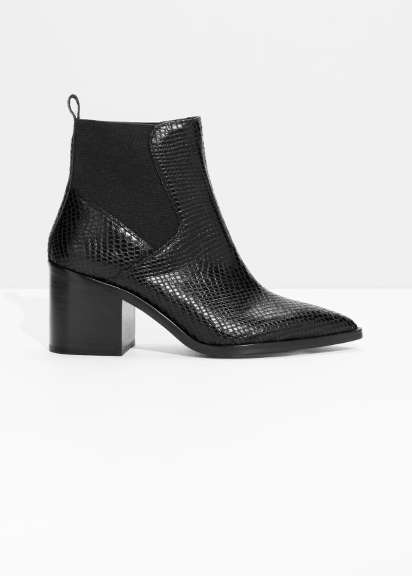 Python Embossed Leather Boots