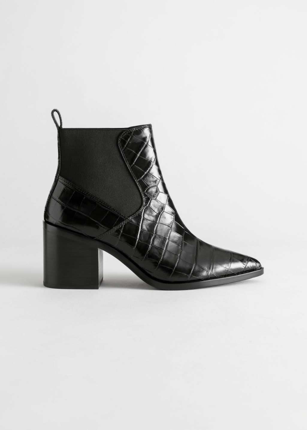 Front image of Stories chunky chelsea leather boots in black