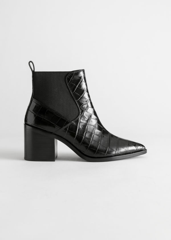 Croc Embossed Leather Boots