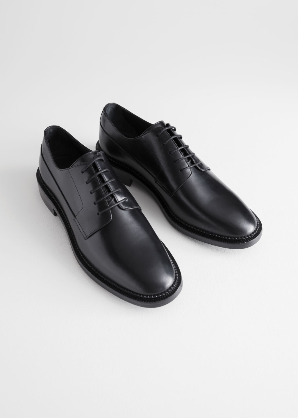 Back image of Stories leather oxfords in black
