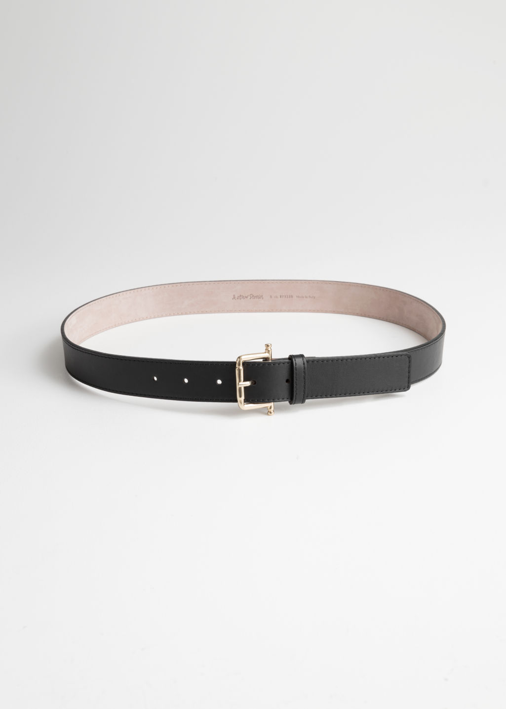 Front image of Stories leather belt in black