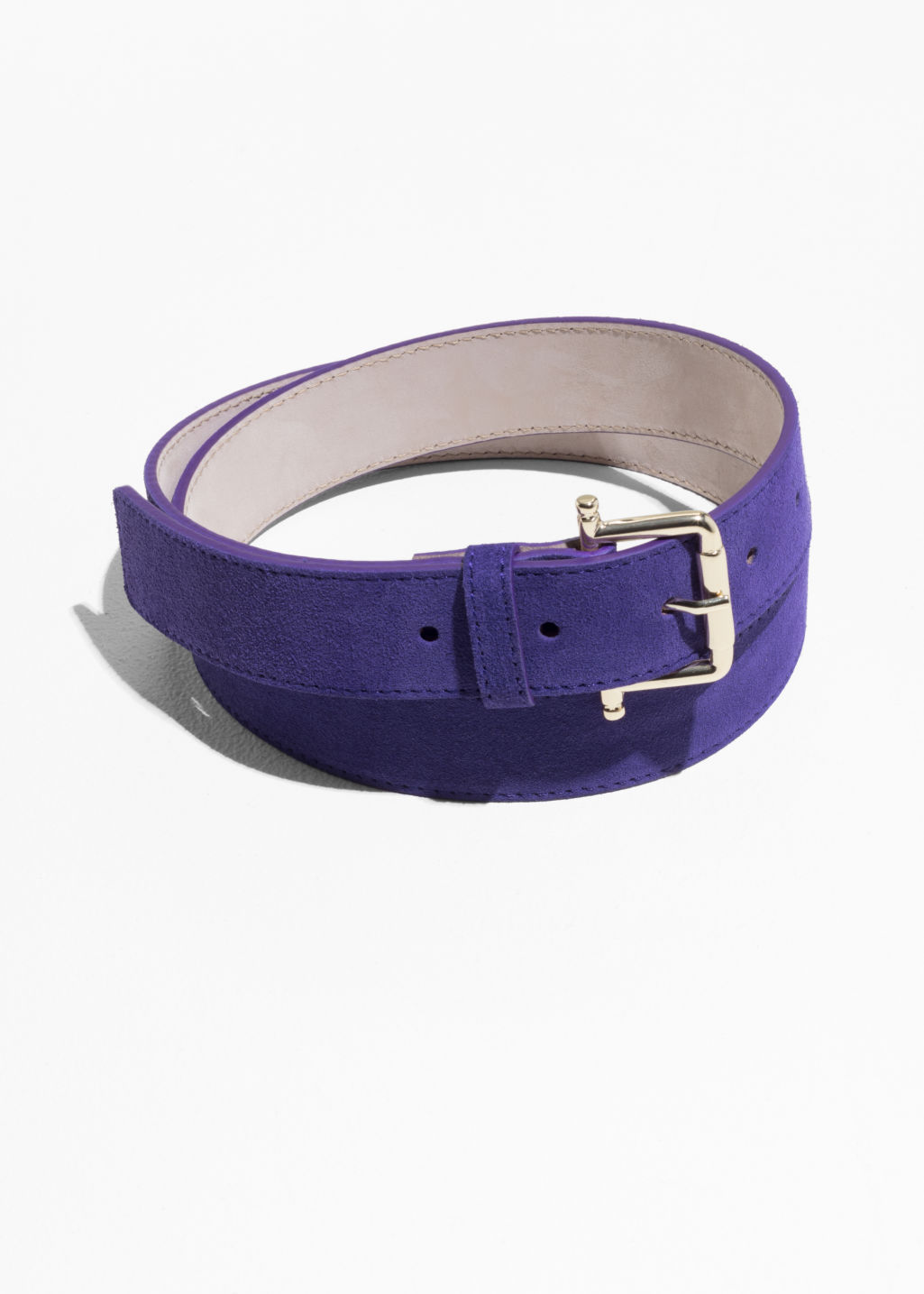Front image of Stories leather belt in pink