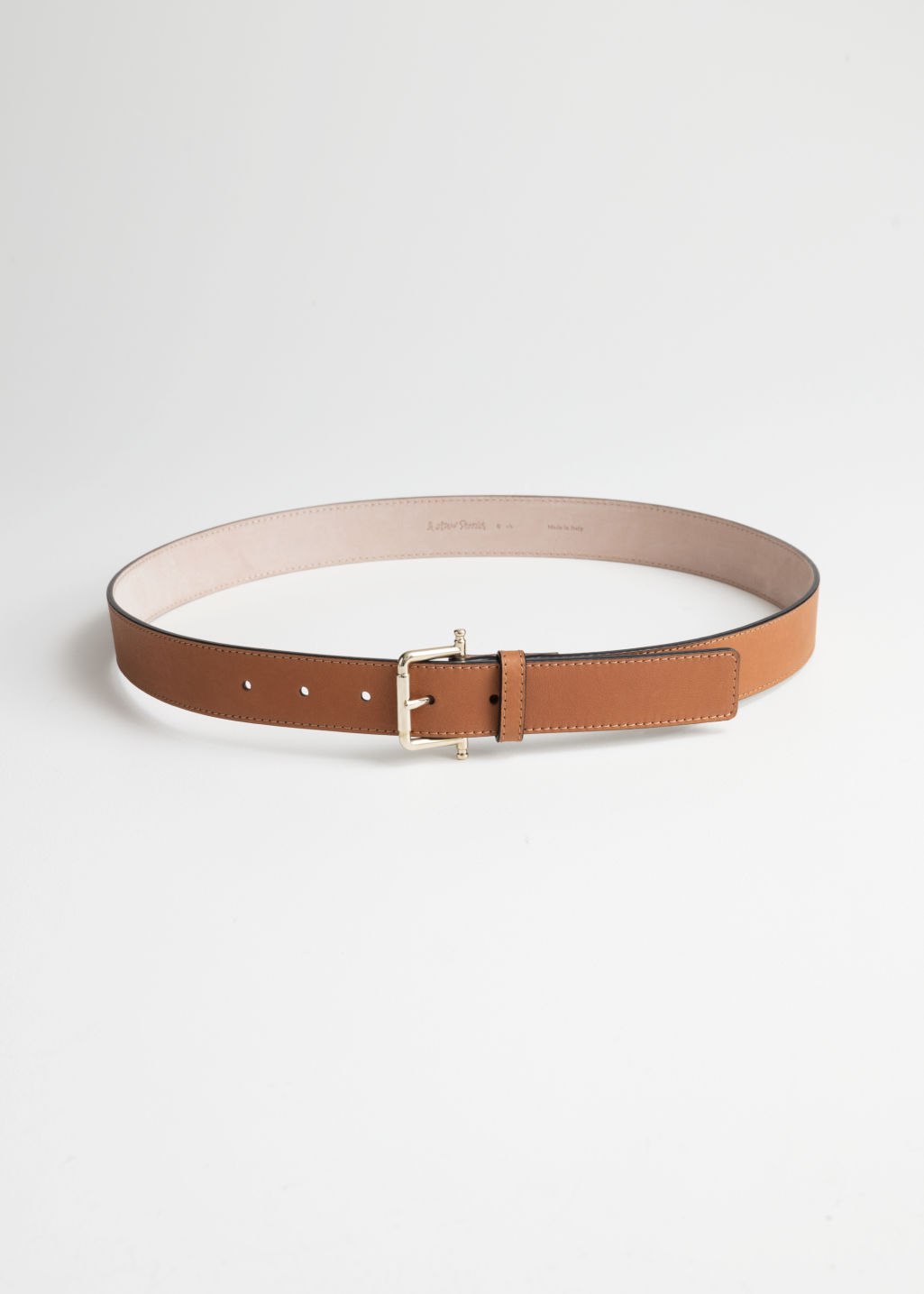 Front image of Stories leather belt in beige