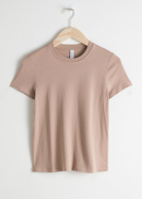 Front image of Stories cotton jersey t-shirt in beige