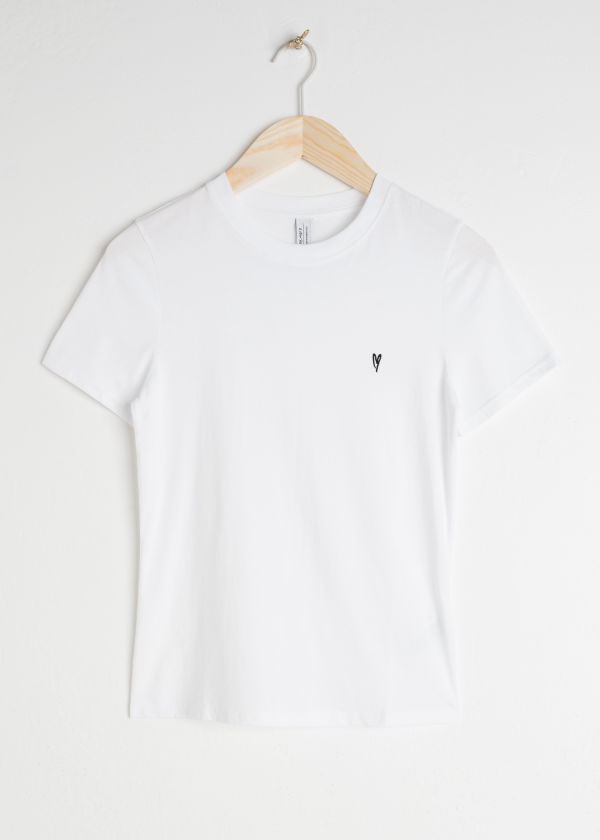 Front image of Stories organic cotton jersey t-shirt in white