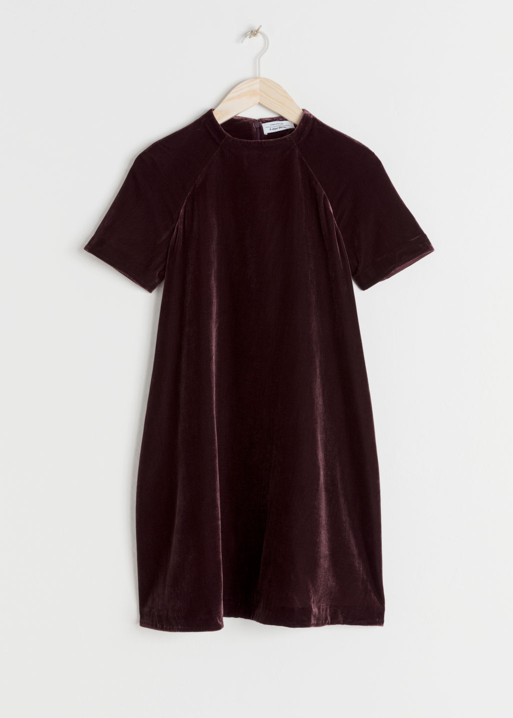 Front image of Stories a-line velvet dress in purple