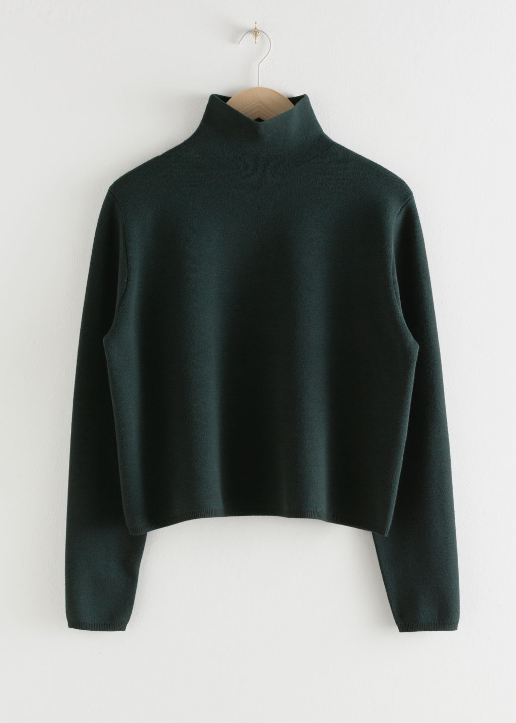 Front image of Stories cropped relaxed fit turtleneck  in green