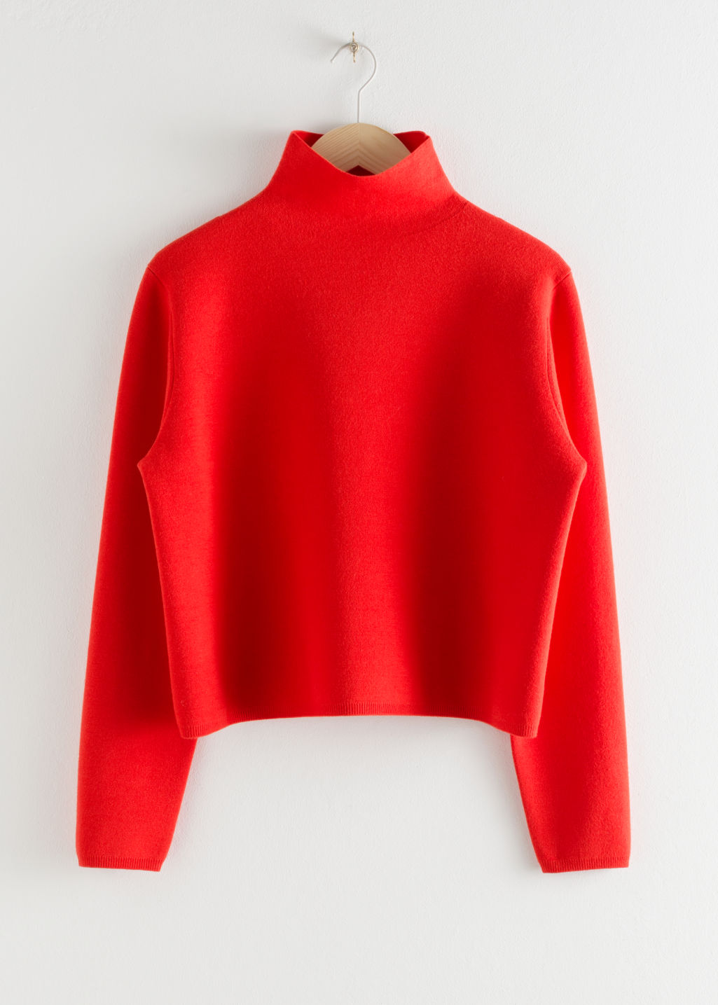 Front image of Stories cropped relaxed fit turtleneck  in red