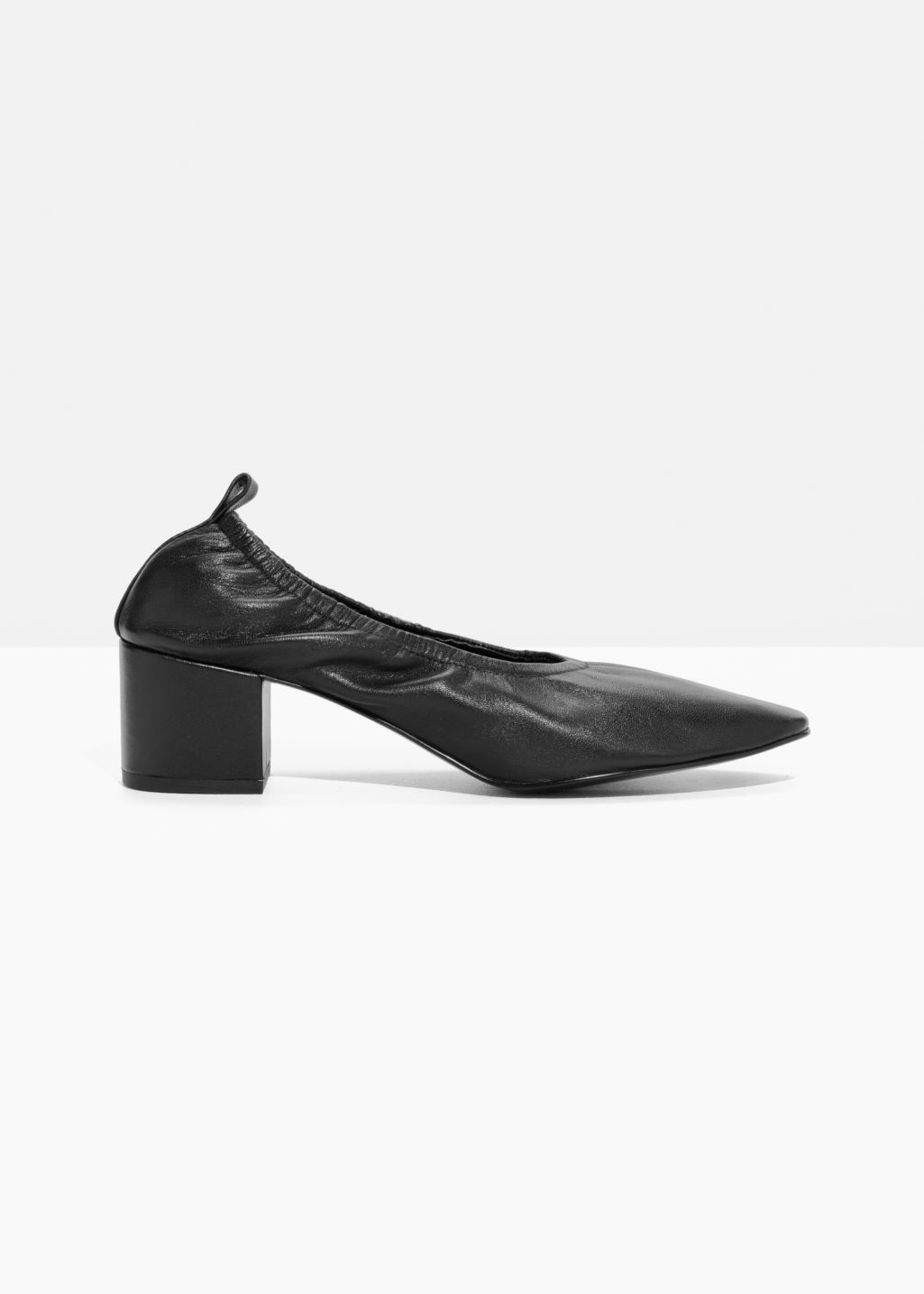 Front image of Stories ballerina leather pumps  in black