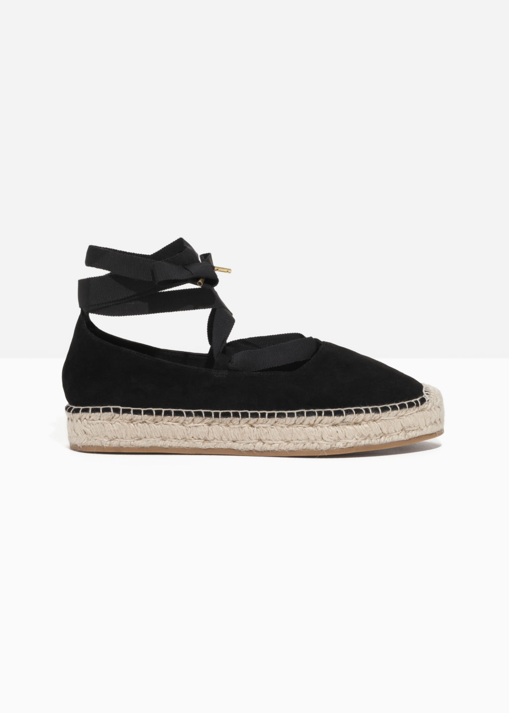 Front image of Stories suede ribbon lace-up espadrilles in black