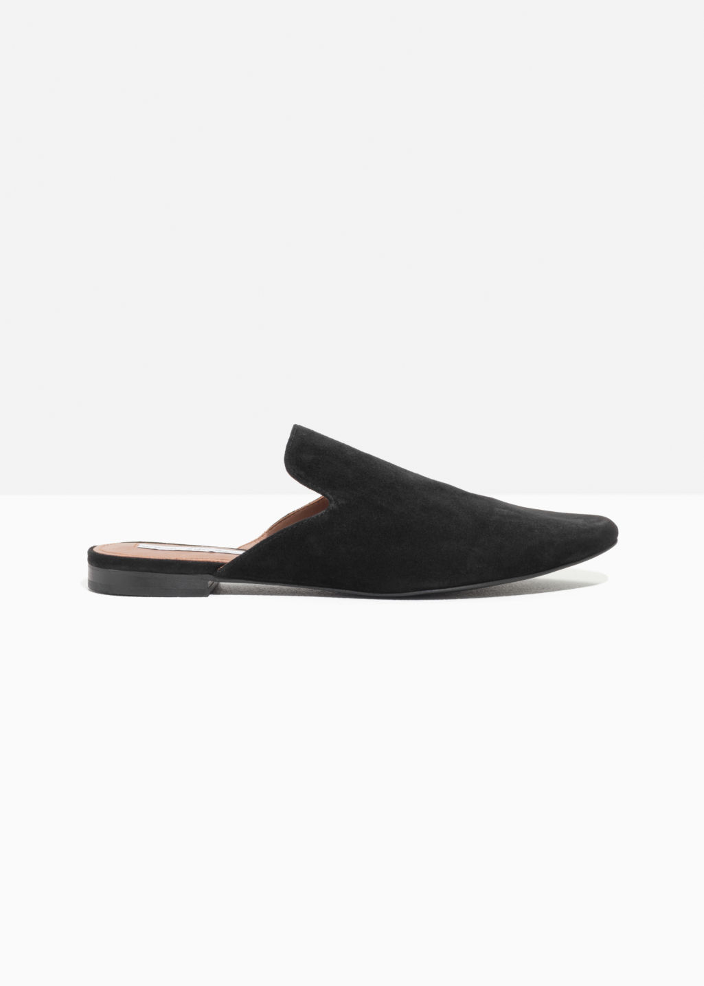 Front image of Stories metallic flames slip-in loafers in black